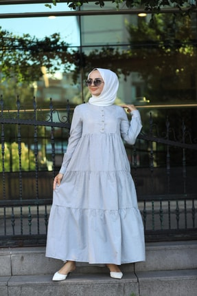 EKABE Kadın Mavi Tesettür Elbise 0