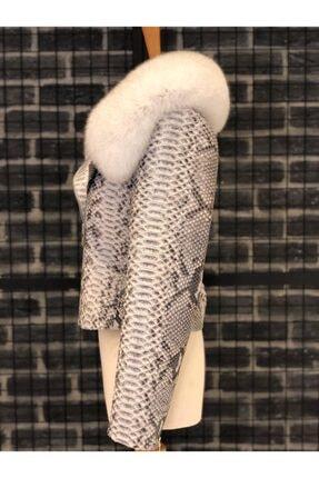 Oscar Leather Kadın Kırık Beyaz Hakiki Kürk Yakalı Piton Deri Ceket 2
