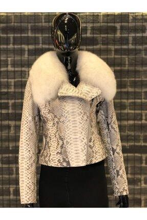 Oscar Leather Kadın Kırık Beyaz Hakiki Kürk Yakalı Piton Deri Ceket 3