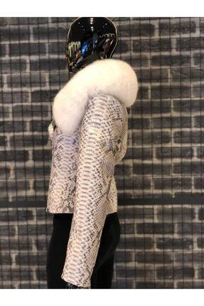Oscar Leather Kadın Kırık Beyaz Hakiki Kürk Yakalı Piton Deri Ceket 4