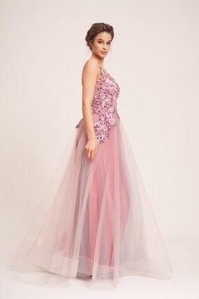 La Vita e Bella Pudra Tül Etek Çiçek Motifli Uzun Abiye Elbise 2