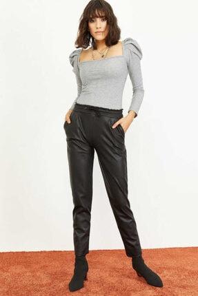 Bianco Lucci Kadın Siyah Beli Lastkli İçi Şardonlu Cepli Deri Pantolon 1008W1004 0