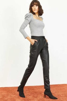 Bianco Lucci Kadın Siyah Beli Lastkli İçi Şardonlu Cepli Deri Pantolon 1008W1004 1