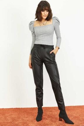 Bianco Lucci Kadın Siyah Beli Lastkli İçi Şardonlu Cepli Deri Pantolon 1008W1004 2