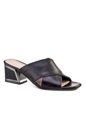 Cabani Kadın Siyah Topuklu Günlük Terlik 0