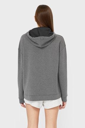 Stradivarius Kadın Koyu Gri Kapüşonlu Basic Sweatshirt 06502601 1