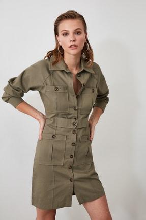 TRENDYOLMİLLA Haki Cep Detaylı Gömlek Elbise TWOAW21EL0323 1