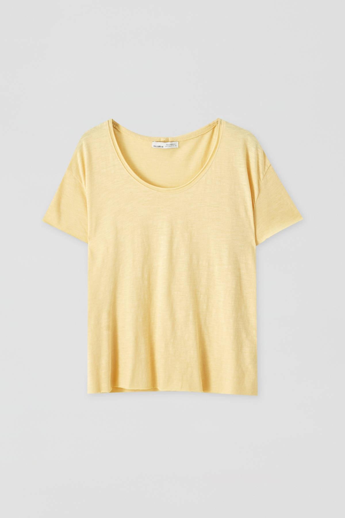 Pull & Bear Kadın Açık Sarı Biyeli Dikişli Basic T-Shirt 05236307 4