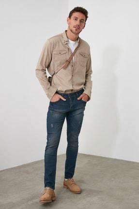 TRENDYOL MAN Indigo Erkek Tırmık Yıpratmalı Skinny Jeans TMNAW20JE0251 2