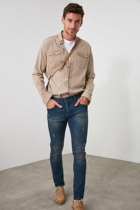 TRENDYOL MAN Indigo Erkek Tırmık Yıpratmalı Skinny Jeans TMNAW20JE0251 3