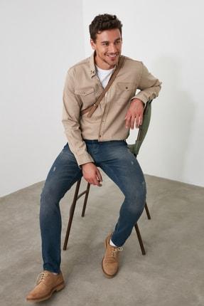 TRENDYOL MAN Indigo Erkek Tırmık Yıpratmalı Skinny Jeans TMNAW20JE0251 0