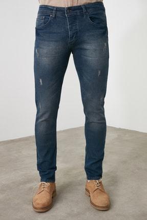 TRENDYOL MAN Indigo Erkek Tırmık Yıpratmalı Skinny Jeans TMNAW20JE0251 1