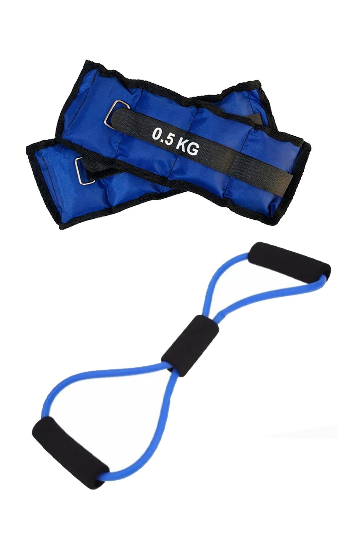 Jet Direnç Egzersiz Lastiği Tübülü Ve 0.5Kg El Ayak Bilek Ağırlığı Kum Torbası Pilates Seti 0