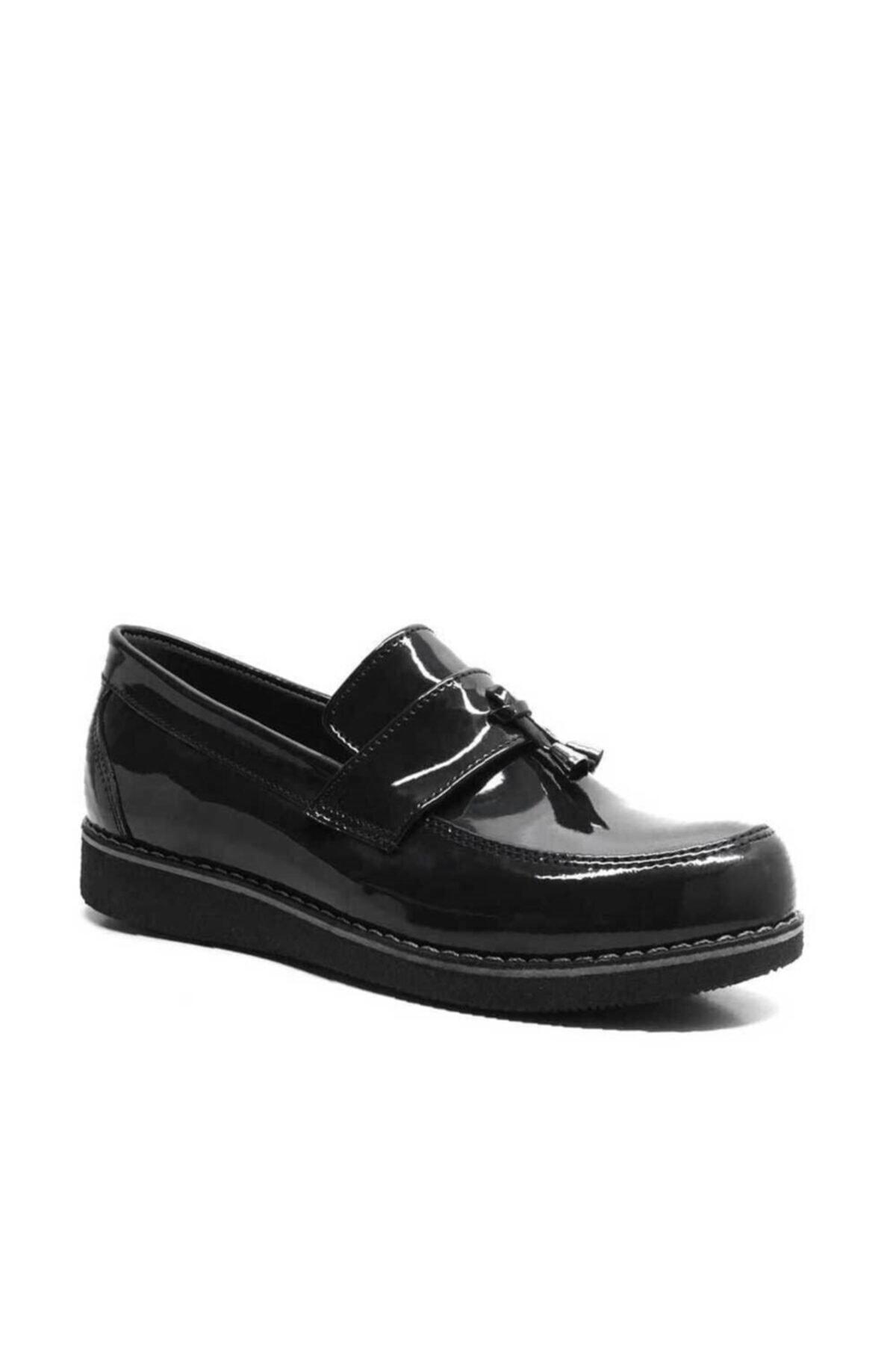 Kız Çocuk Siyah Rugan Loafer Okul Ayakkabısı