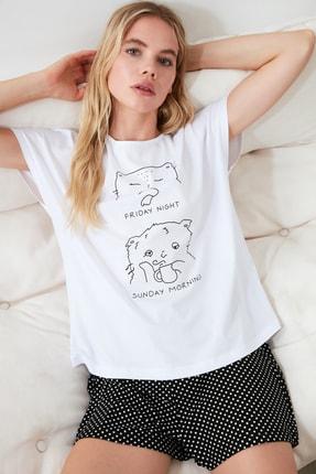 TRENDYOLMİLLA Antrasit Baskılı Pijama Takımı THMSS20PT0099 0