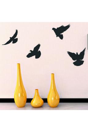 GİZEM SHOP Siyah Dekoratif Ahşap Dörtlü Kuş Duvar Süsü Dekoru 1