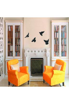 GİZEM SHOP Siyah Dekoratif Ahşap Dörtlü Kuş Duvar Süsü Dekoru 2