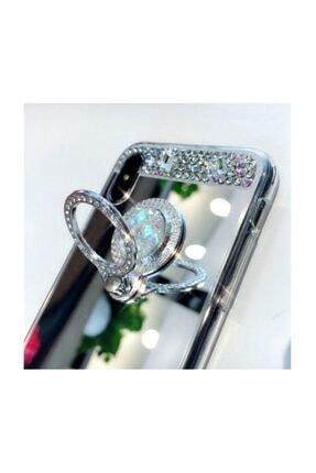 Ksyaccessories Iphone Xs Max Gümüş Aynalı Ve Taşlı Selfie Yüzüklü Telefon Kılıfı 1