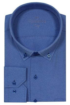 Picture of Büyük Beden Yaka Dügmeli Gömlek Koyu Mavi