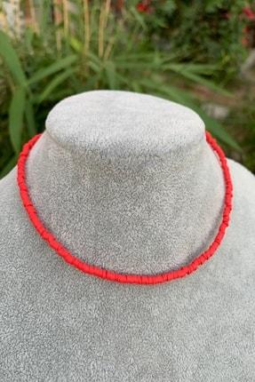 İsabella Accessories Kadın Renkli Fimo Boncuk Kolye Kırmızı Yeni Trend Kolye 0
