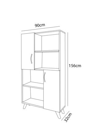Aeka Ae-4006 Yakamoz 8 Raflı Ve 2 Kapaklı Beyaz Kitaplık 3
