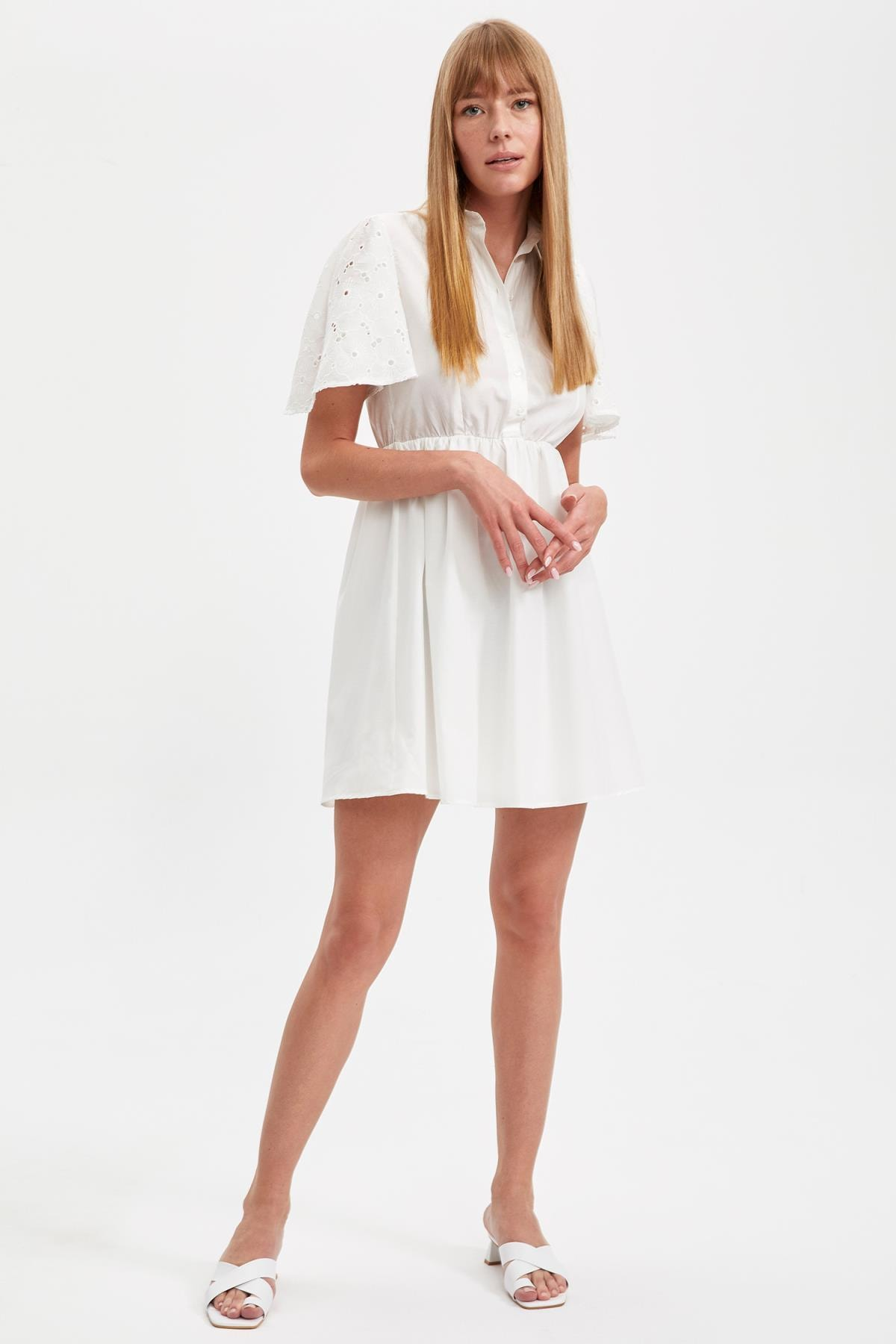 Defacto Kadın Beyaz Mini Boy Güpür Detaylı Gömlek Elbise S4879AZ20HS 1