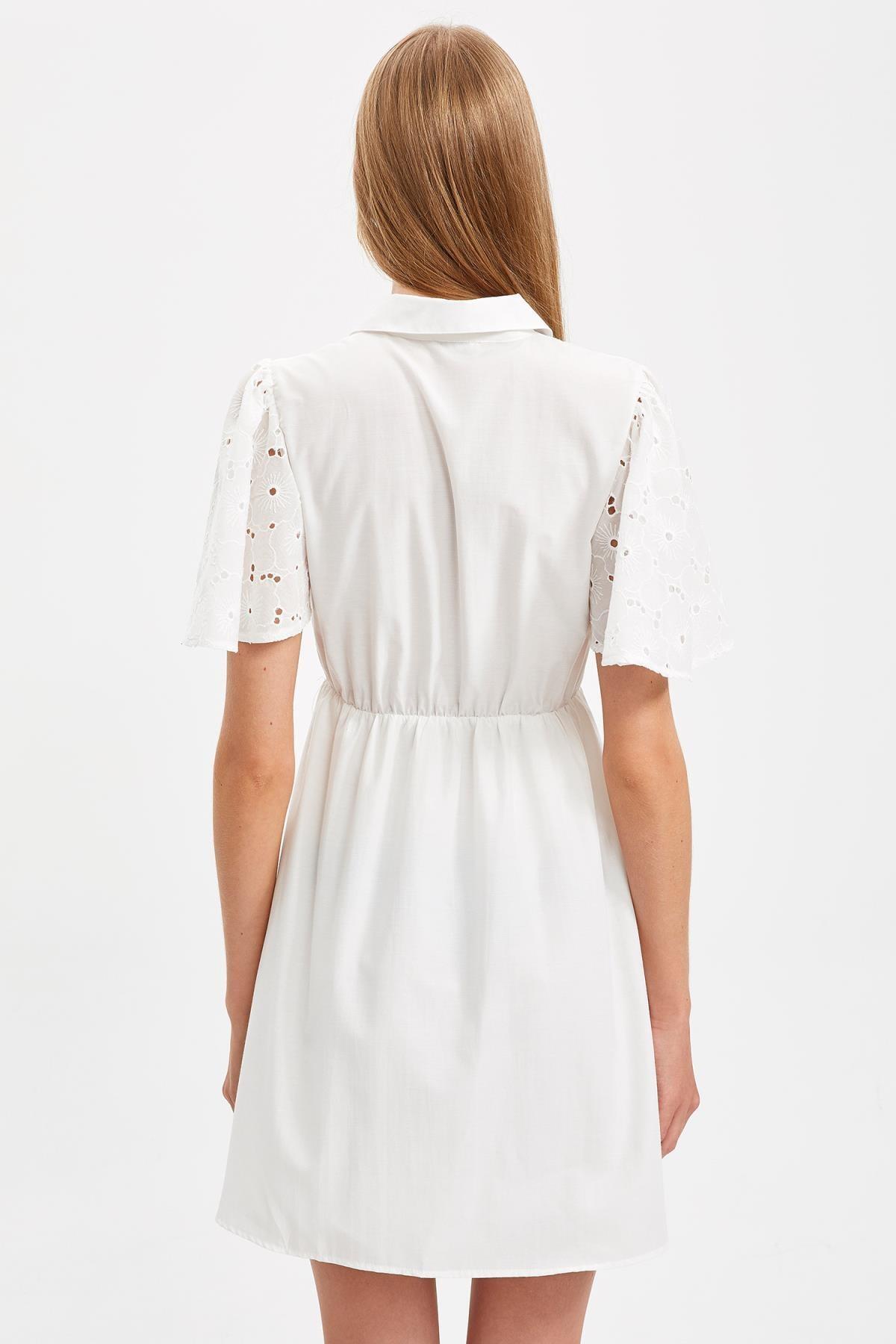 Defacto Kadın Beyaz Mini Boy Güpür Detaylı Gömlek Elbise S4879AZ20HS 3