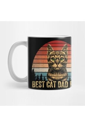 TatFast Vintage Best Cat Dad Ever Men Bump Fit Fathers Day Gift Kupa 0