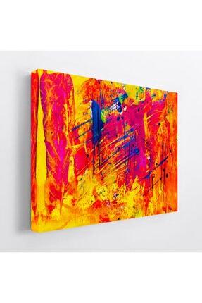 Lokomotif Soyut Renkli Kanvas Tablo 50x70 Cm 0