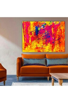 Lokomotif Soyut Renkli Kanvas Tablo 50x70 Cm 1