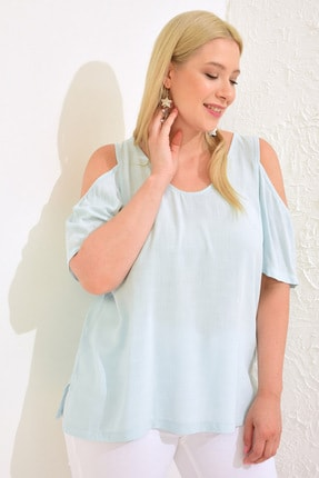 LC Waikiki Kadın Açık Mavi Bluz 0WCD75Z8 3