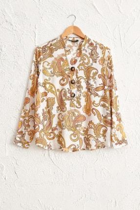 LC Waikiki Kadın Sarı Baskılı Bluz 0SB814Z8 0
