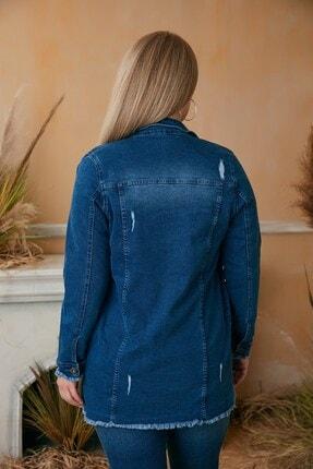 Rmg Kadın Mavi Püskül Detaylı Uzun Kot Ceket 2