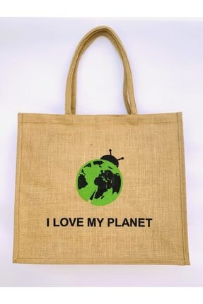 Doğal Atölye Kadın Kahverengi I Love My Planet Baskılı Jüt Çanta 0