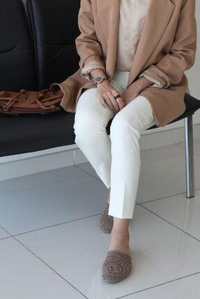 ALLDAY Kadın Ekru Fermuarlı Pantolon 0