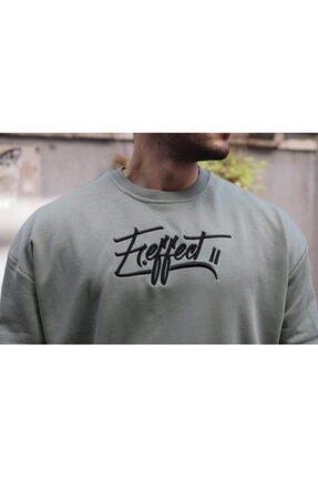 FAST EFFECT WEAR Erkek Haki Önü Nakış Baskılı Oversize Sweatshirt 3