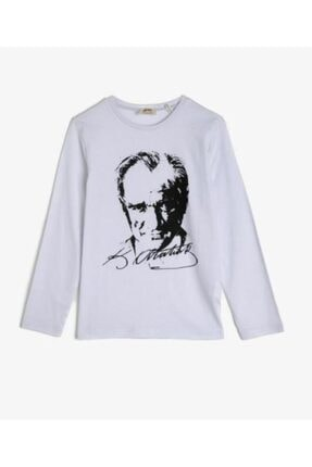 Koton Unisex Çocuk Beyaz Atatürk Baskılı Uzun Kollu Tshirt 1