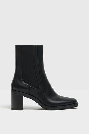 Bershka Kadın Siyah Topuklu Bot 0