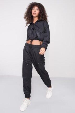 BSL Kadın Siyah Bel Paça Lastik Detaylı Pantolon 3