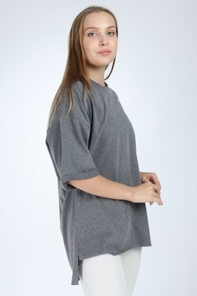 Millionaire Kadın Koyu Gri Real Eyes Oversize T-shirt 2