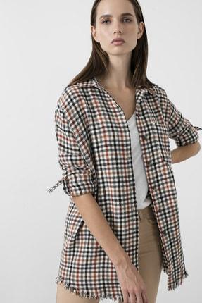 Lela Kadın Siyah Kare Desenli Cepli Oduncu Uzun Gömlek 59120467kare 0