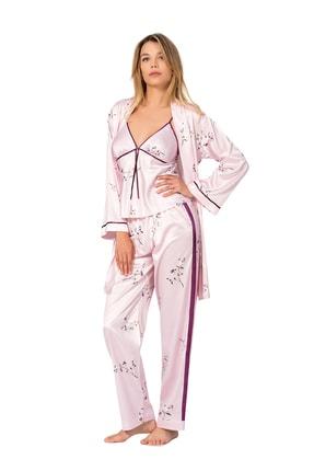 MOONGIRL Kadın Üçlü Saten Pijama Takım 0