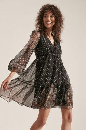 say Kadın V Yaka Etek Ucu Şal Desenli Elbise 2