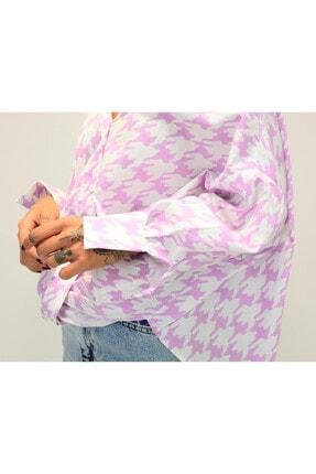 Shoppingdimoda Kadın Lila Düşük Kol Oversize Gömlek 3
