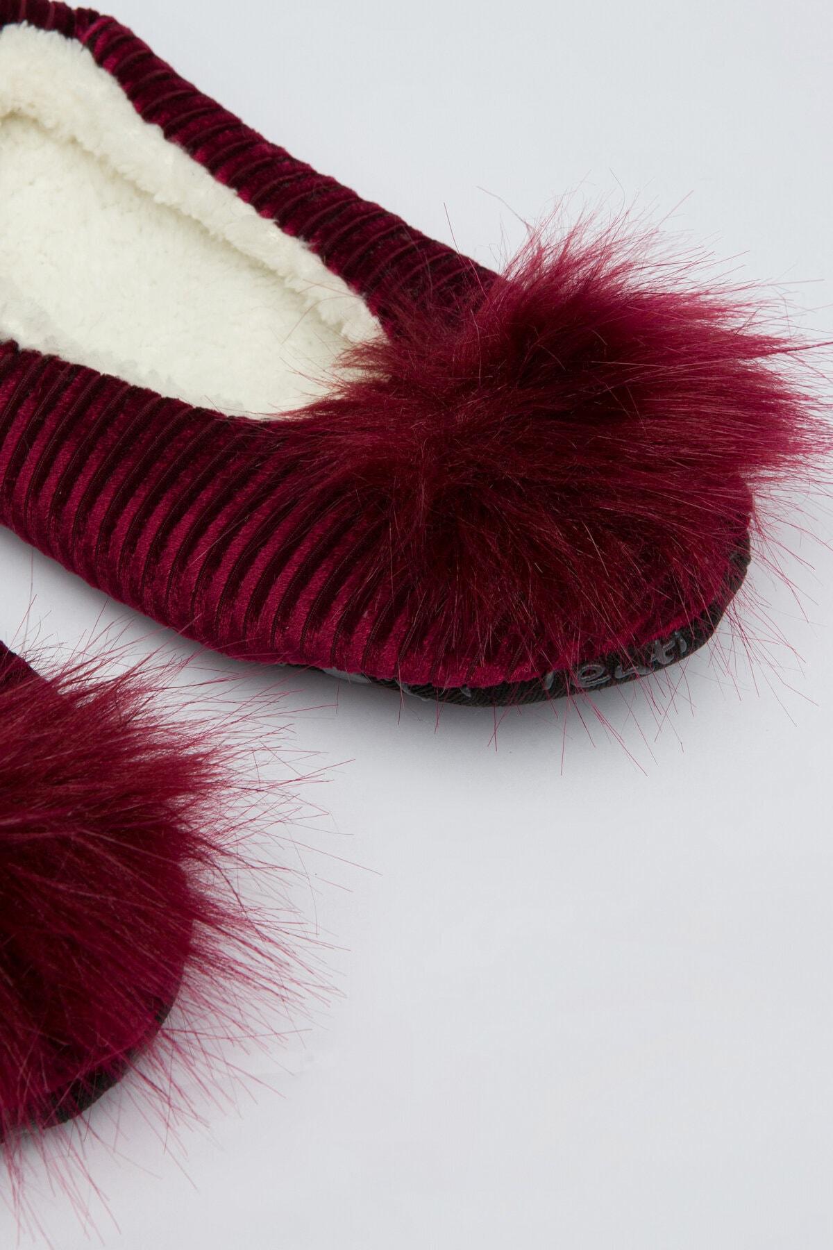 Penti Kadın Burgundy Pom Patik Çorabı 1
