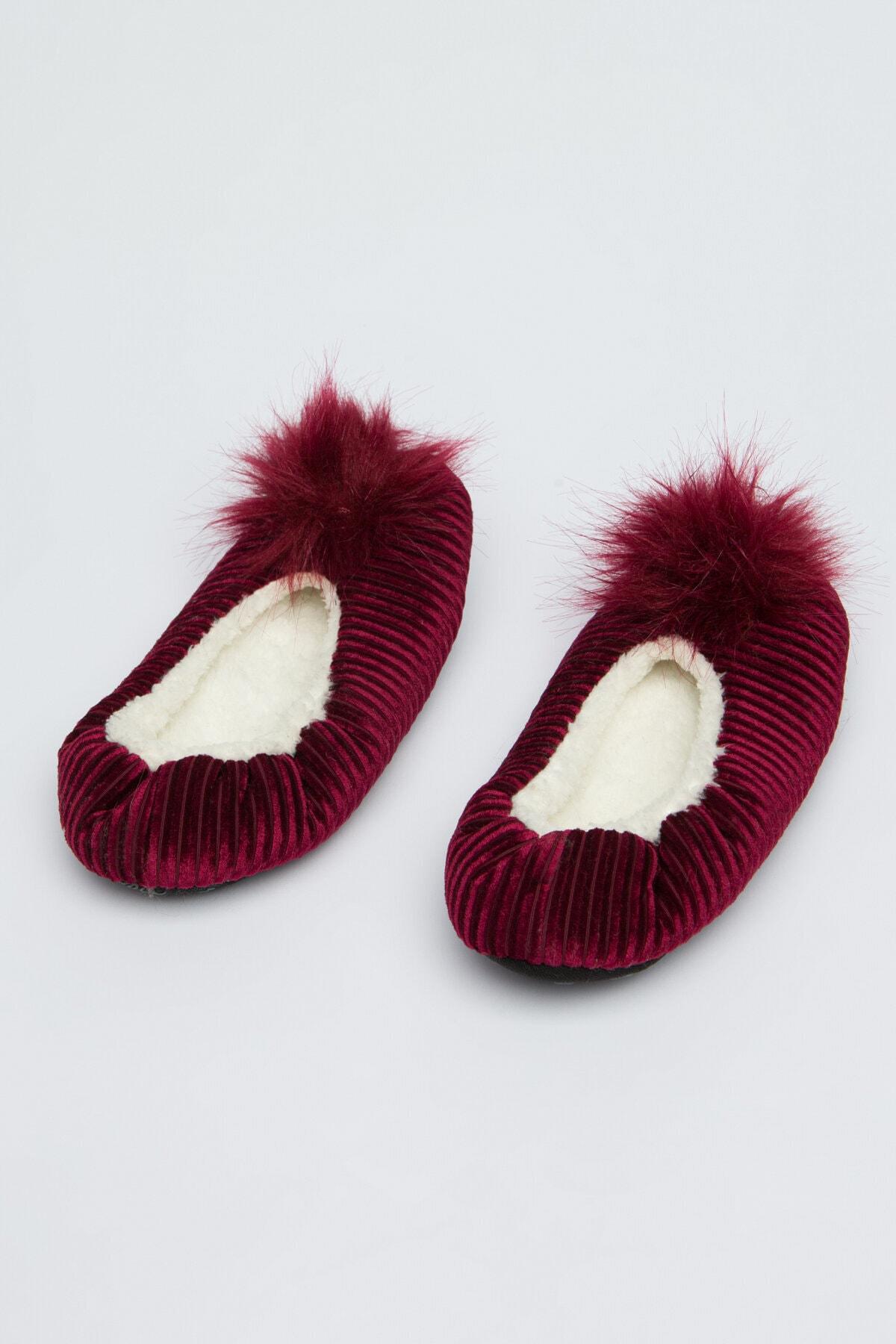 Penti Kadın Burgundy Pom Patik Çorabı 2
