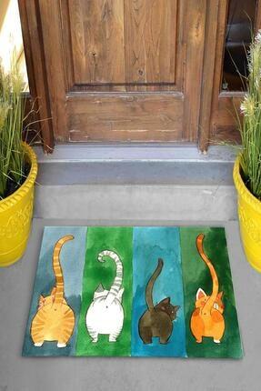 Evsebu Renkli Kediler Dekoratif Kapı Önü Paspası 3