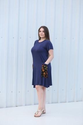 MGS LİFE Kadın, Renkli Cep Detaylı, Lacivert Renkli, Büyük Beden Yazlık Elbise 1