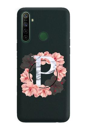 Spoyi Pembe Çiçekli Harf Tasarımlı Rubber Telefon Kılıfı Huawei Oppo Realmi 5i P-harfi 0