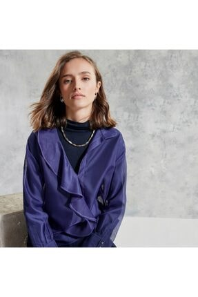 Yargıcı Kadın Mor Yaka Detaylı Bluz 1